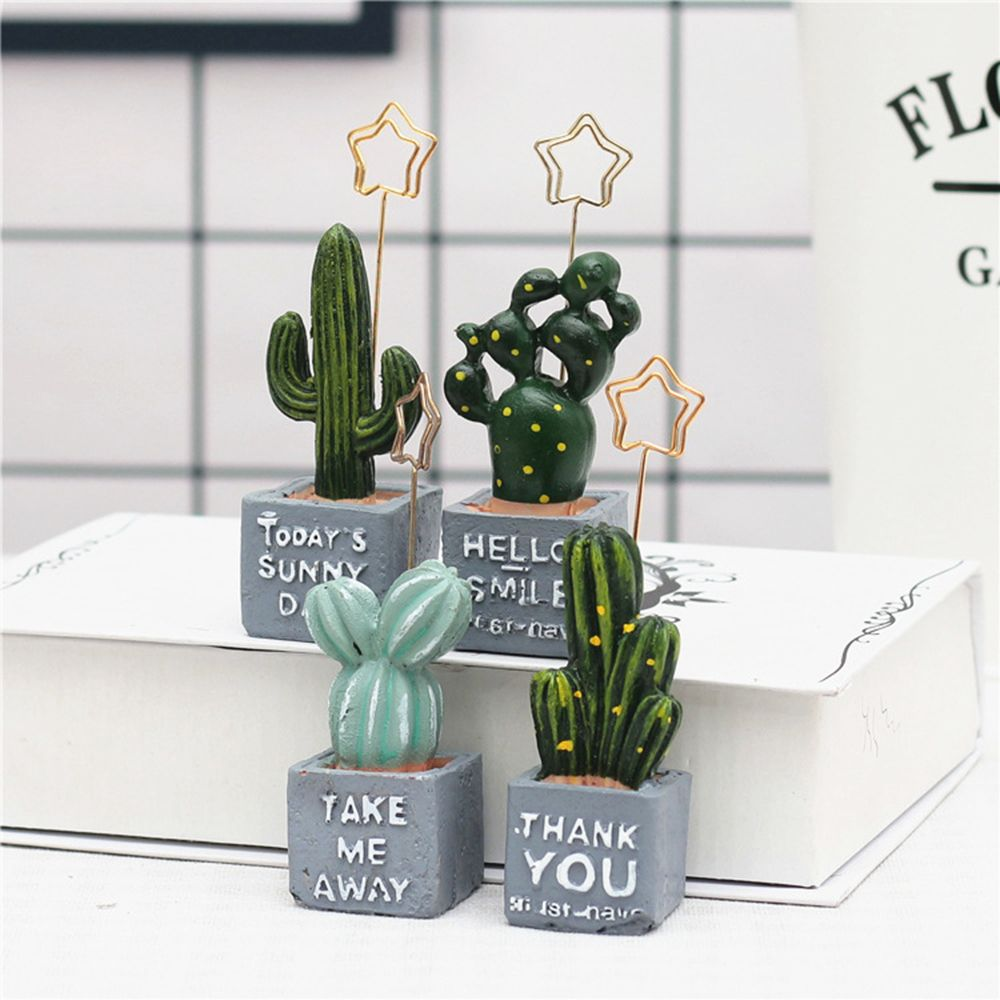 Cactus Stars Shape Clip Table Photo Memo Clips Card Holder Desk Notes Folder Message Clips Home Office Decoration Accessorie