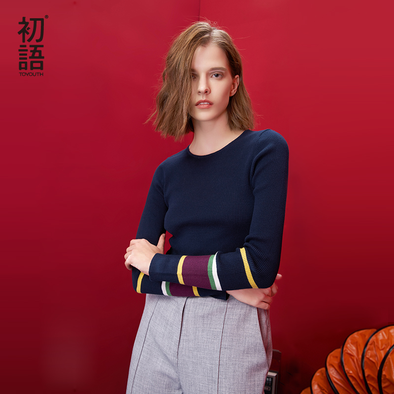 Toyouth Striped Autumn Women Sweaters And Pullovers 2019 Slim Long-sleeve Sweater Basic Cashmere Knitted Sweater Feminino