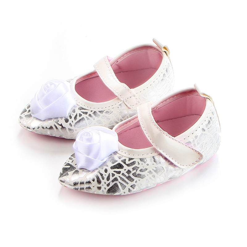 Infant Soft Soled Non-slip Footwear Crib Flower Shoes 0-18M Newborn Girls Bow Leather Frist Walkers Shoes