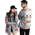 Nova Moda Inverno de Lã De Cordeiro Algodão Denim Jaqueta de Lapela Flores Bordado Calça Jeans Casaco Jaqueta Homens E Mulheres Seção Quente LCY85