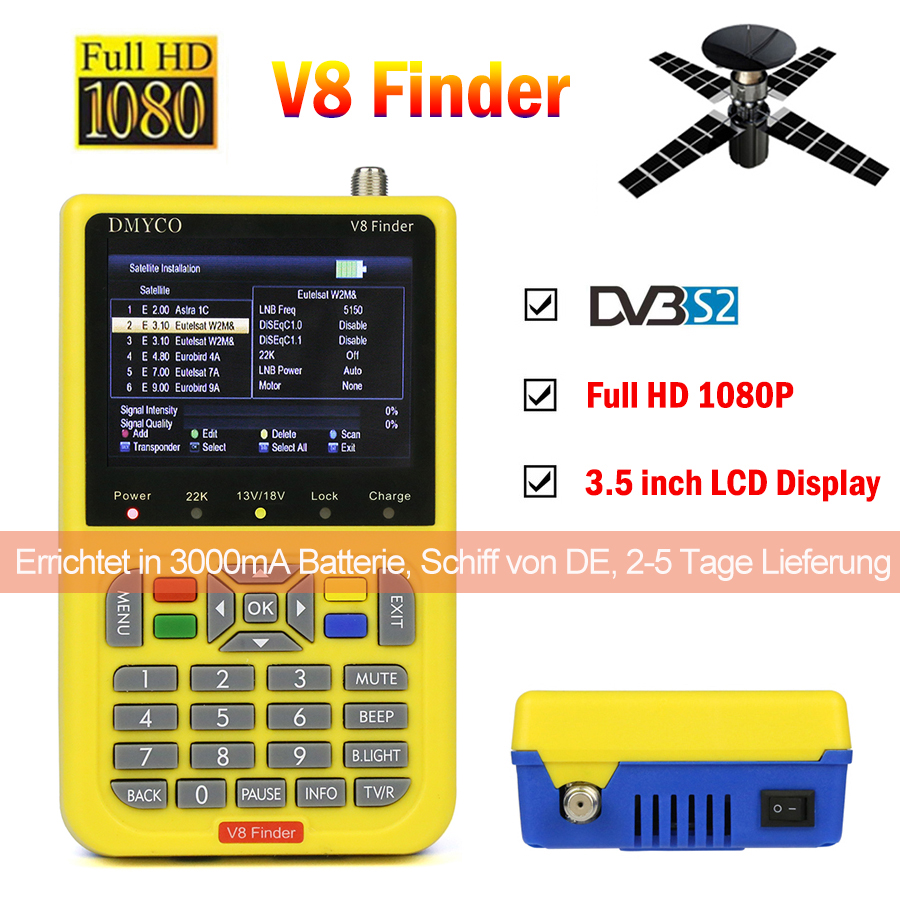 V8 Finder HD satfinder DVB-S2 Haute Définition Par Satellite Finder MPEG-4 DVB S2 Satellite Mètre Plein 1080 p V8 Finder lnb sat finder