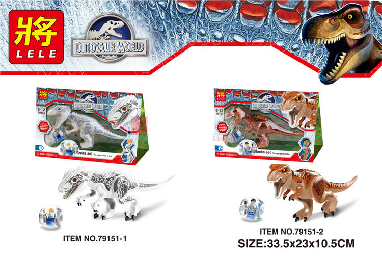 LELE 79151 2Pcs/sets Dinosaur Jurassic World Indominus Rex T. Rex Building Blocks Toys Kids Gift Compatible With Legoe wiben jurassic tyrannosaurus rex t rex dinosaur toys action
