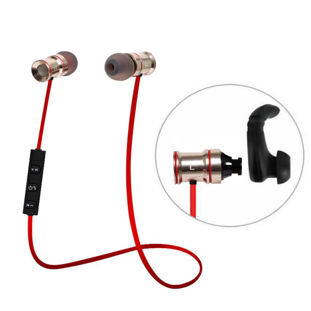 Bluetooth 4 1 Earphones Magnet Metal Noise Reduction Stereo Sport Wireless Earbud For Iphone 6s Xiaomi