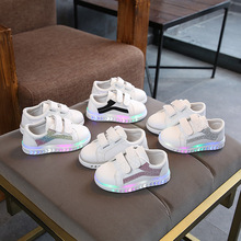 Colorful lighted fashion boys girls shoes simple solid shoes kids Lovely baby infant tennis hot sales children sneakers footwear
