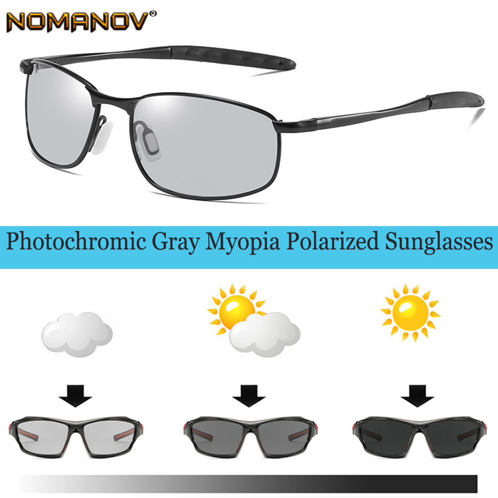 2019 Sale New Photochromic Polarized Prescription Sunglasses Custom Made Myopia Minus Lens 1 1.5 2 2.5 3 3.5 4 To 6