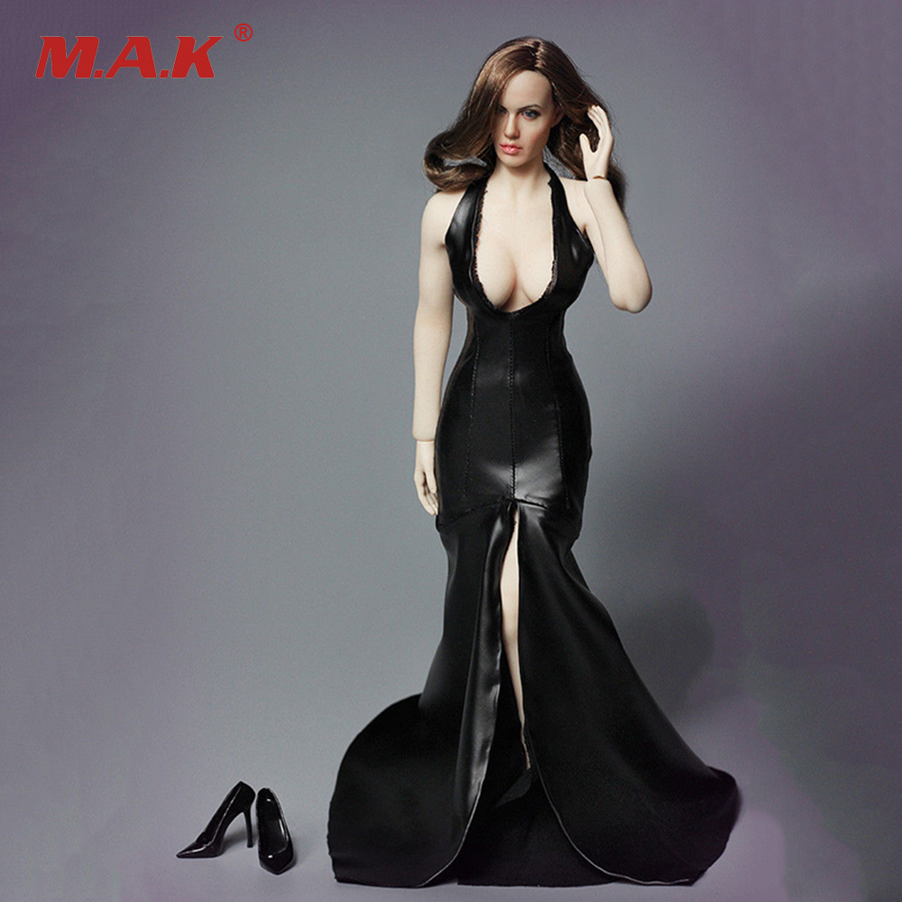 1:6 Scale Angelina Jolie Head and Black   Evening Dress Models  for 12 inches Action   Figure without Body 1 6 scale the game of death bruce lee head sculpt and kungfu clothes for 12 inches figures bodies
