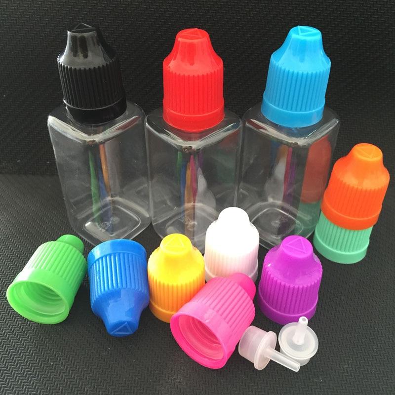 500pcs E Liquid Bottle Ecigs Square Shape Bottles 10ml 30ml Pet Dropper Bottles With Child Proof
