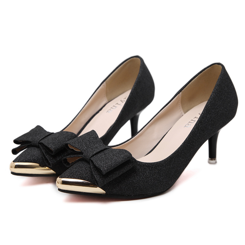 Aliexpress 6cm Low High Heels Women Shoes Elegant Black Fashion Office Bow Pointed Toe Chaussures Femmes From