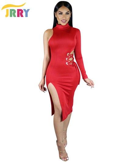 0ed015b69807 Jrry casual collo alto una spalla slit abiti rossi donne di vendita caldo  dalla fasciatura di
