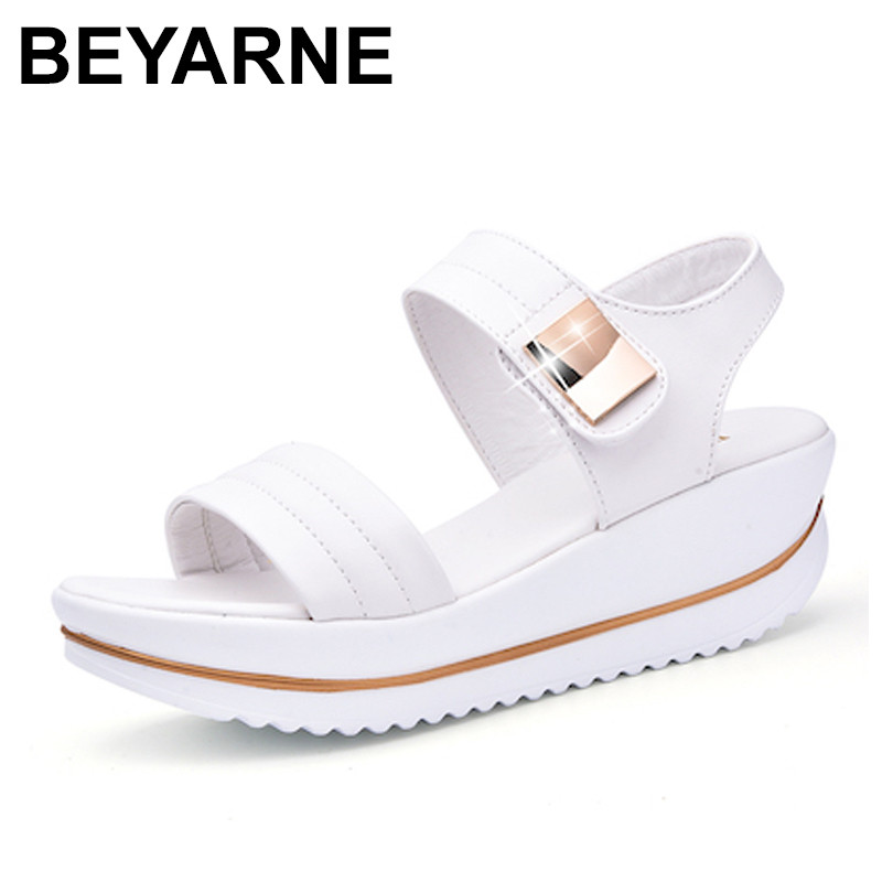 BEYARNE Summer Women Sandals platform heel Leather hook loop metal Soft comfortable Wedge shoes ladies casual sandals white blu new 2018 summer women sandals platform heel leather comfortable wedge shoes ladies casual sandals