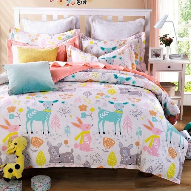 Nice Woodland Animal Friends Deer Rabbit Flower Cute Cartoon Bedding Pink Bed  Sheets Girls Teen Kids Twin