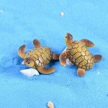Zocdou 1 peça tartaruga de mar tartaruga pequena estátua casa acessórios decoração em miniatura crianças artesanato estatuetas diy