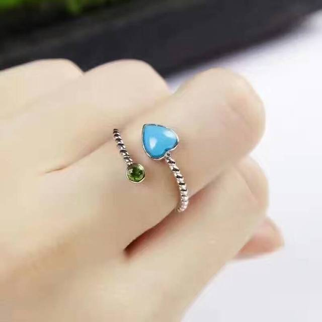 Natural green turquoise gem Ring Natural gemstone Ring S925 silver trendy Elegant Romantic heart adjustable girl gift Jewelry