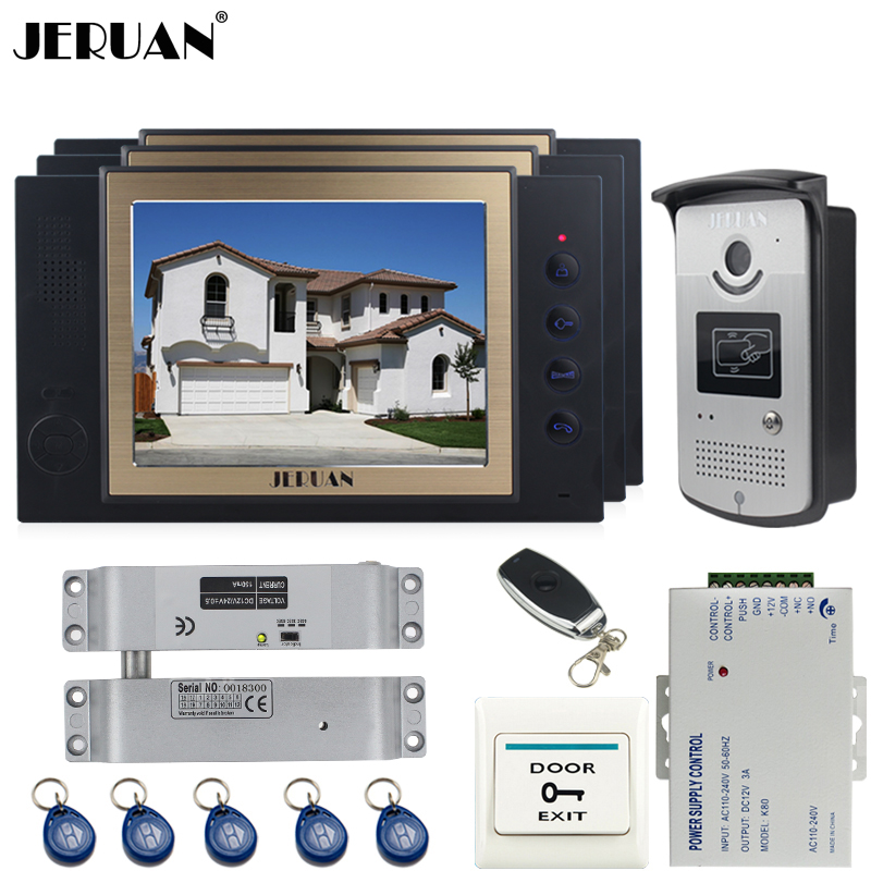 JERUAN luxury 8`` LCD Video Door Phone three 700TVT Camera access Control System+Electric Bolt lock+Remote control+8GB card jeruan black 8 lcd video door phone system 700tvt camera access control system cathode lock remote control 8gb card