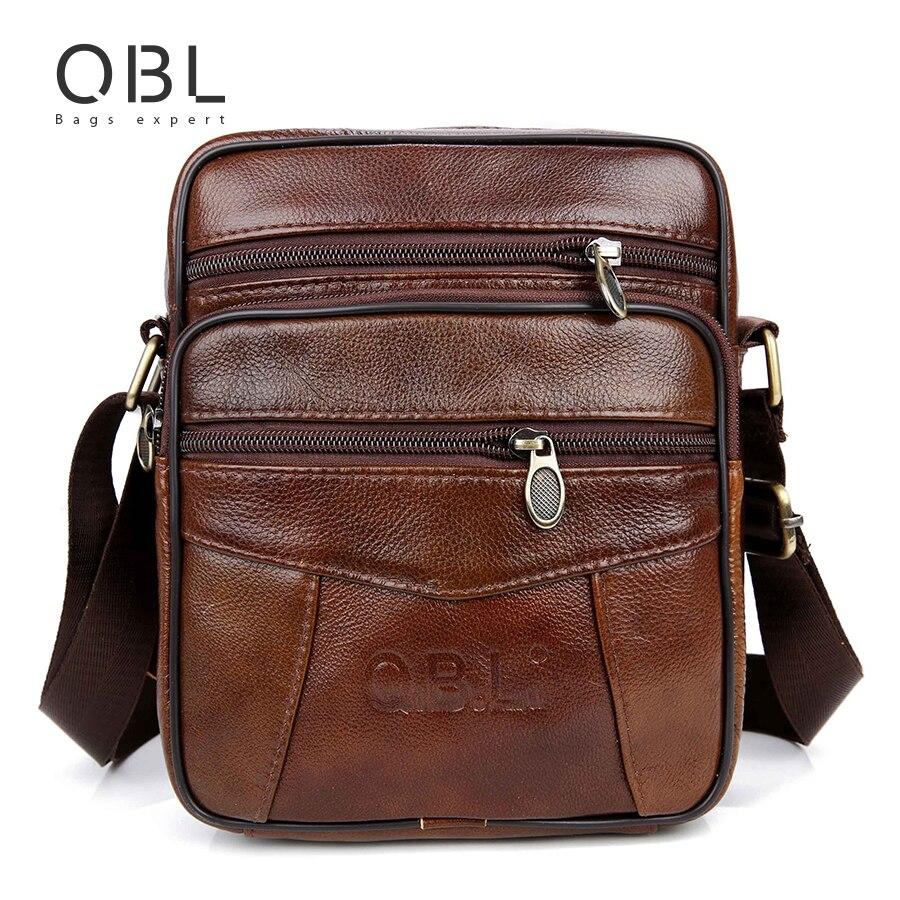 QiBoLu de vaca de cuero genuino bolsos de mensajero de los hombres viajes Crossbody bolso de hombro para hombre regalo para él Homme Bolsa Masculina MBA19