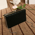 Women Messenger Bags 2016 new fashion Weave shoulder bag Candy colour chain bag pu leather women clutch bag
