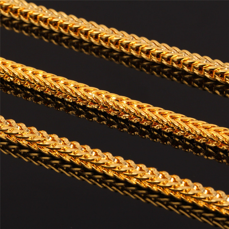U7 Gold Color Necklace Set Wholesale Jewelry Trendy Foxtail Chain