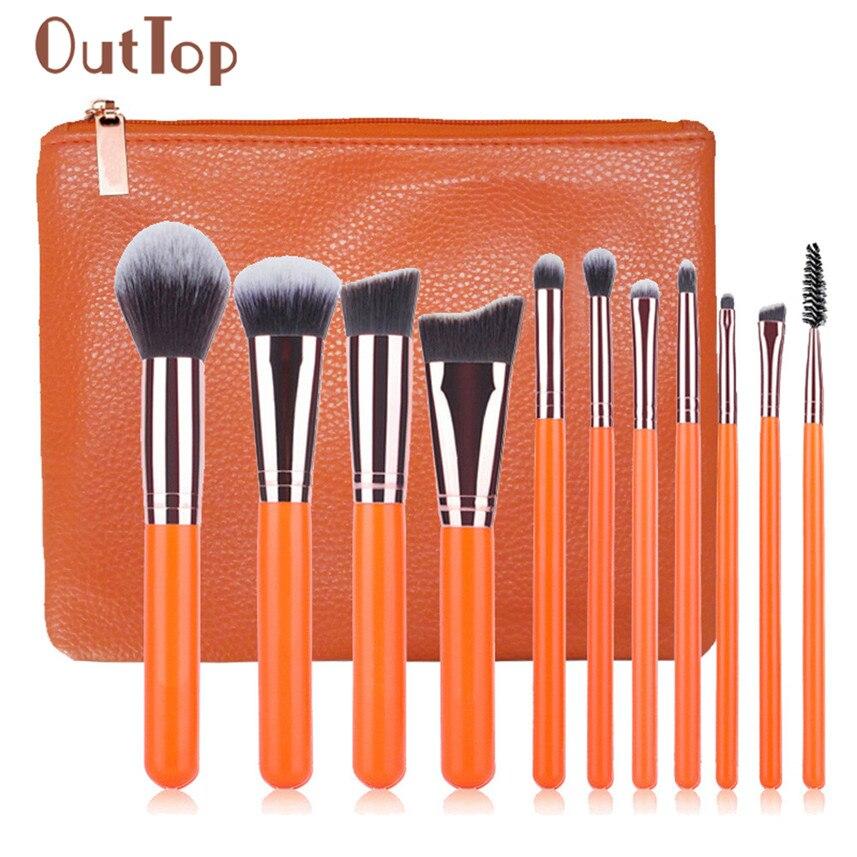 OutTop 11pcs Orange Make Up Foundation Eyebrow Eyeliner Blush Cosmetic Concealer Brushes MA03 тушь make up factory make up factory ma120lwhdr04