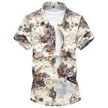2018 camisa de verano para hombre casual moda flor color manga corta camisas de algodón de seda de alta calidad para hombre talla grande M-6XL 7XL