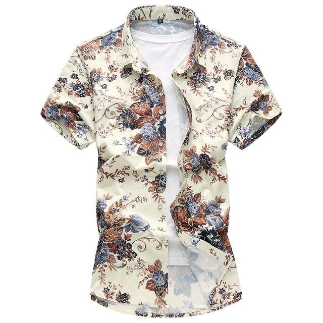 2018 mùa hè áo sơ mi mens thời trang giản dị hoa màu ngắn tay áo sơ mi nam chất lượng cao cotton Lụa áo sơ mi Cộng Với kích thước M-6XL 7XL