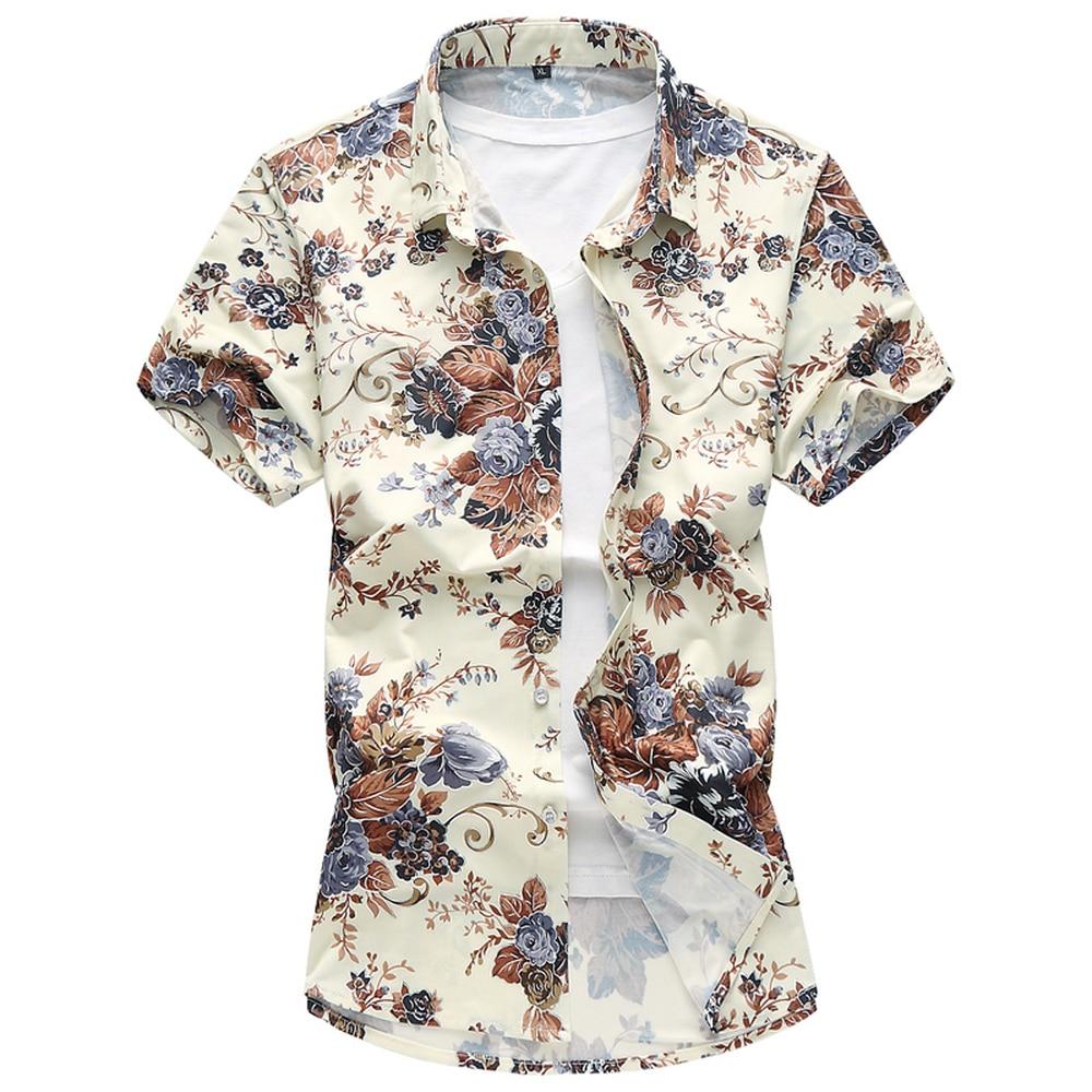 Zomer Overhemd.2018 Zomer Overhemd Heren Casual Mode Bloem Kleur Korte Mouwen