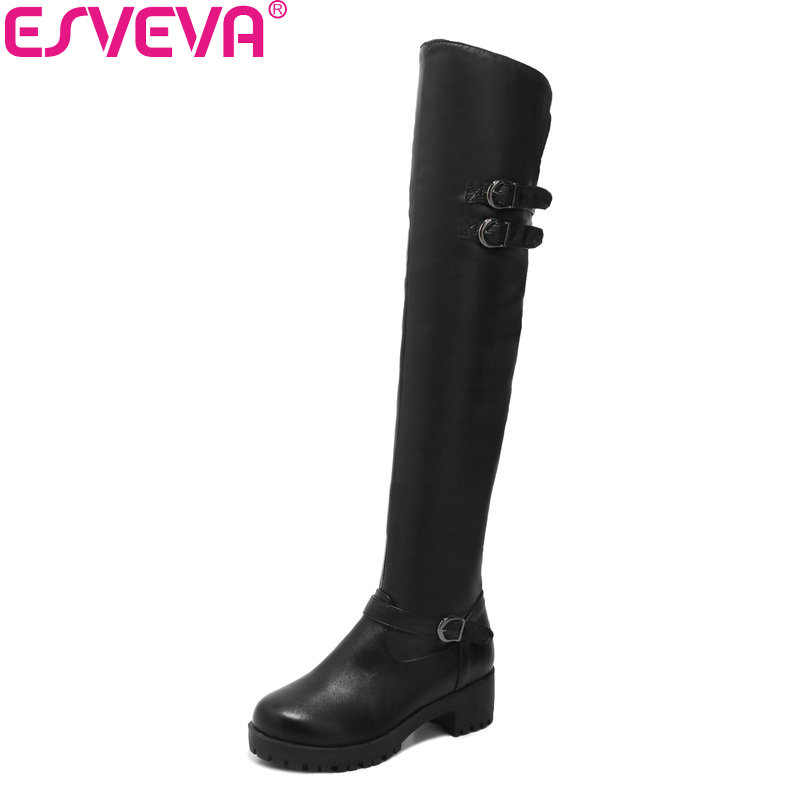 ESVEVA 2018 Women Boots Buckle Short Plush Round Toe Concise Over The Knee Boots Square High Heel Black Ladies Boots Size 34-43 esveva 2018 women boots zippers black short plush pu lining pointed toe square high heels ankle boots ladies shoes size 34 39
