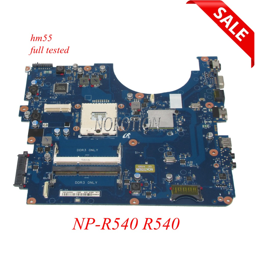 NOKOTION BA92-06686A Laptop Motherboard for Samsung R540 intel HM55 DDR3 Main board full tested 100% tested original mbedu06001 da0zr6mb6e0 laptop motherboard for acer extensa 5235 intel system board gl40 ddr3 high quality