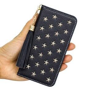 Image 2 - Étui pour iphone à rabat en cuir de luxe Xs 11 pro MAX XR X 8 7 6s Plus miroir à la main étoiles Rivet portefeuille couverture de livre lanière gland