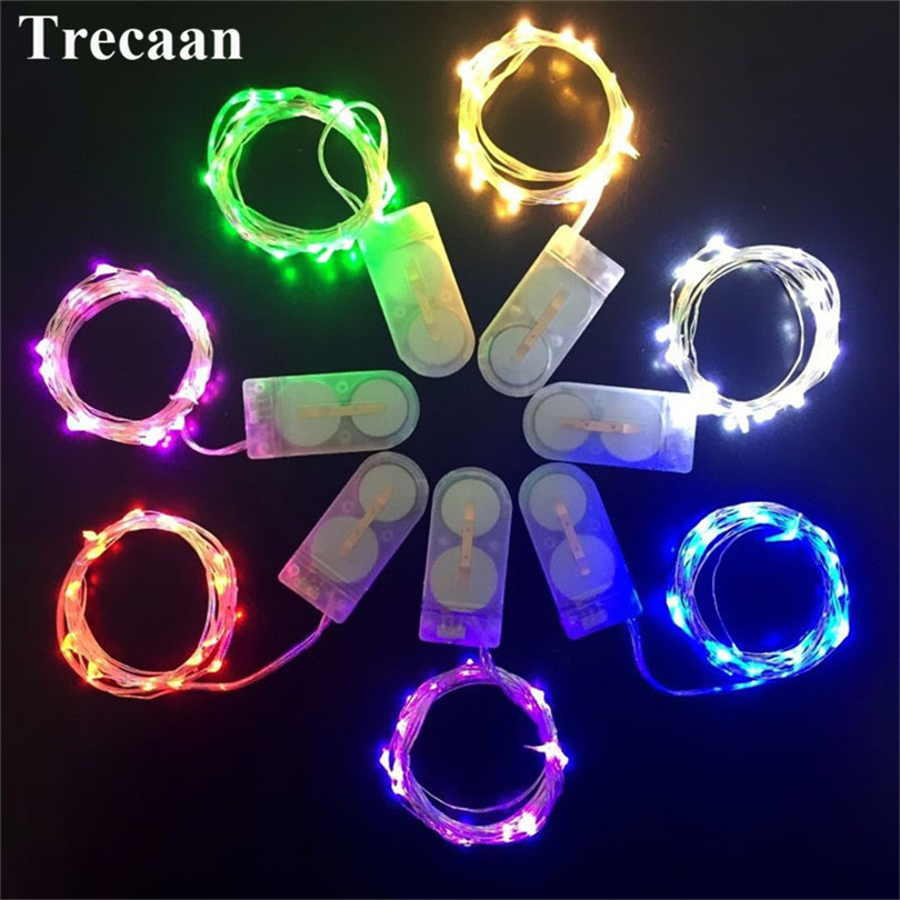 10pcs/lot 2M 20 Leds CR2032 Button Battery Copper Led Fairy Lights Operated LED String Light for Xmas Wedding party Decoration