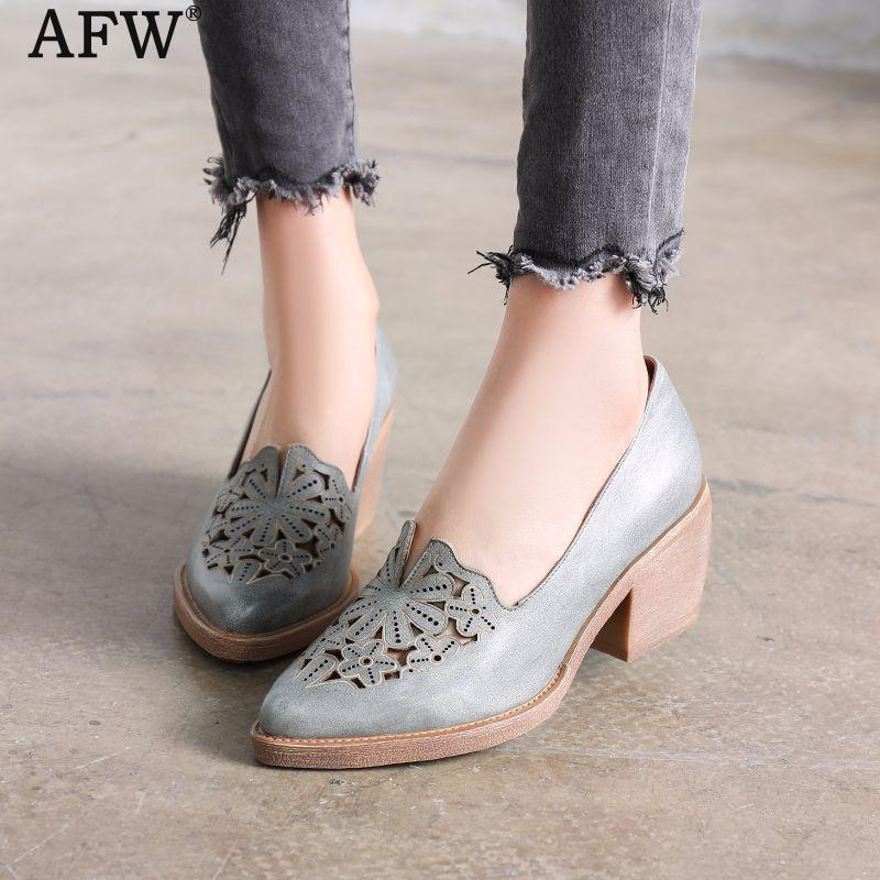 AFW Women Genuine Leather Pumps 6 CM High Heels Embroidery Pumps Slip On 2018 Spring Set Foot Lazy Shoes Handmade Women Pumps artmu women high heels shoes two kinds of wear methods shoes female handmade leather shoes women pumps slip on shoes