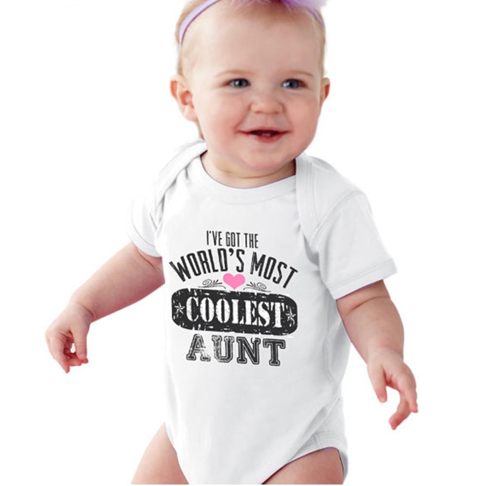 J'ai eu du Monde de Plus Plus Cool Tante bébé Blanc Outfit pour 0-12 M bébé Nouveau-Né outfit fille/Garçon blanc JumpsuitNew Maman/Papa