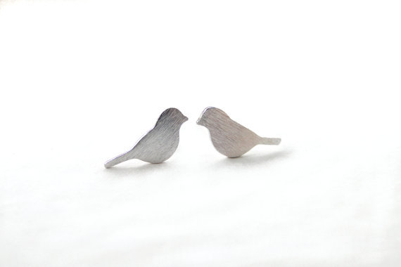 Brushed Bird Stud Earrings for Women