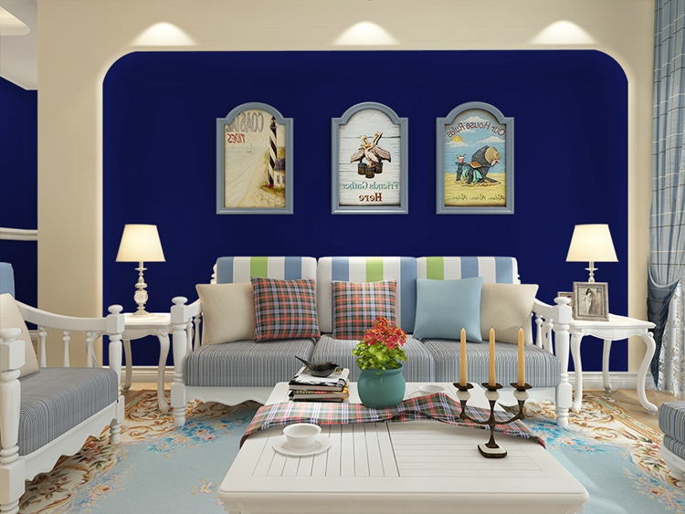 Donkerblauw behang Mediterrane waterdicht slaapkamer