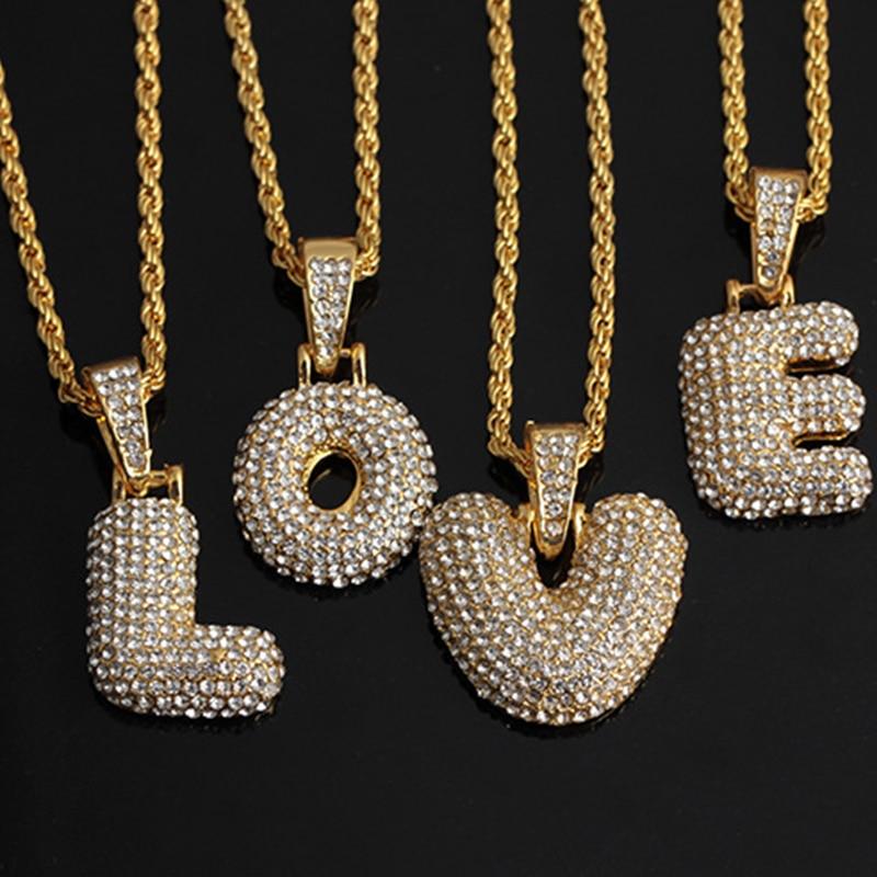 A Z Bubble Letters Necklaces Pendant Chain For Men Women Gold Silver...