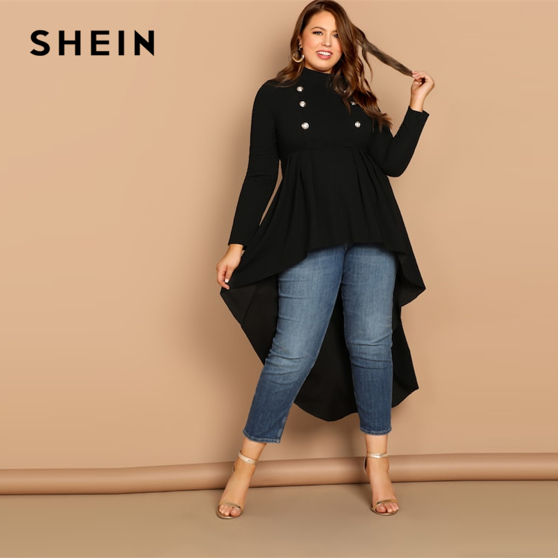 SHEIN Mock-neck Dip Hem Stand Collar Double Button Plain Top Plus Size Black Blouse Women 2019 Spring Casual Top Blouses