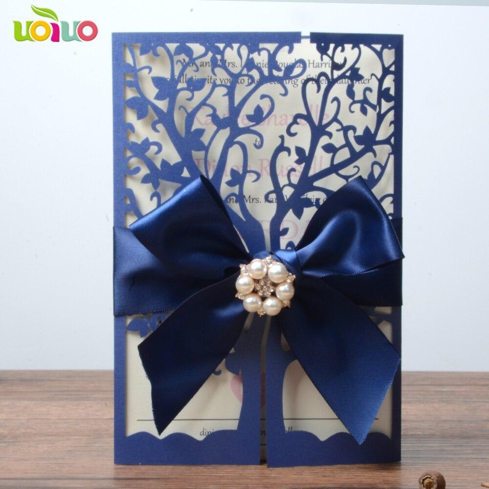 46 77 Alto Grado Azul Real Cortó La Invitación De La Boda Tarjeta De Papel Regalo De Boda De Lujo 50 Piezas árbol único Invitaciones De Boda Con