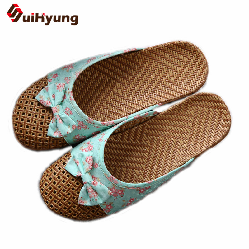 Suihyung New Women' Flat Slippers Linen Home Slippers Female Bathroom Slippers Indoor Shoes Summer Hemp Beach Slippers Flip-flop