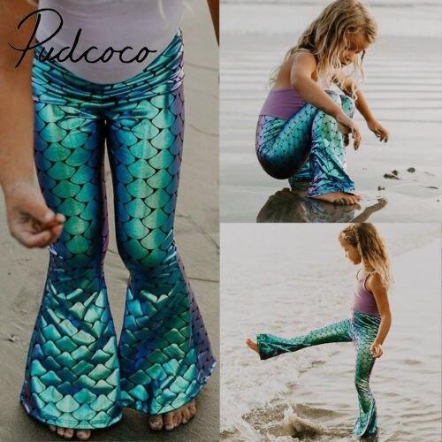 Toddlers Kids Baby Girls Clothes Skinning Mermaid Leggings Wide Leg Flare Pants Trousers  2-7Y