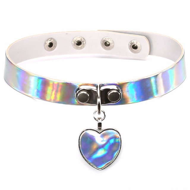 Laser necklace heart gothic punk holographic choker hologram pu laser necklace heart gothic punk holographic choker hologram pu leather choker 2017 collar necklace jewelry mozeypictures Images