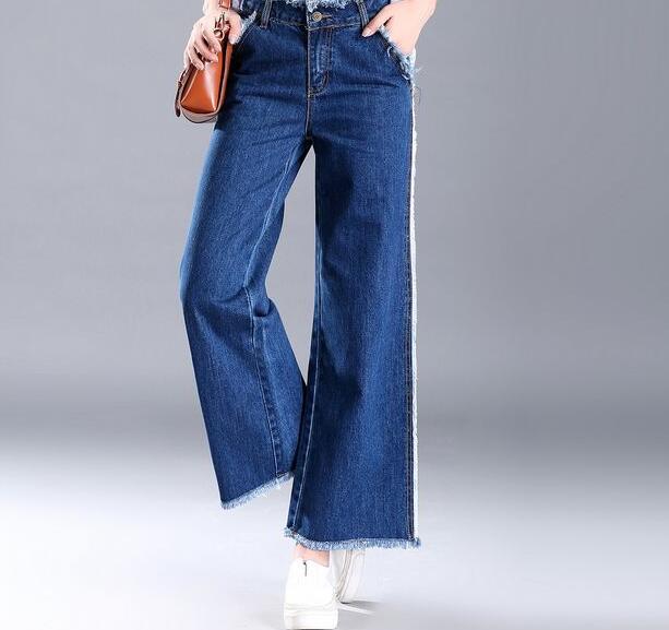 Beste Casual wijde pijpen broek voor vrouwen denim jeans katoen blend GV-03
