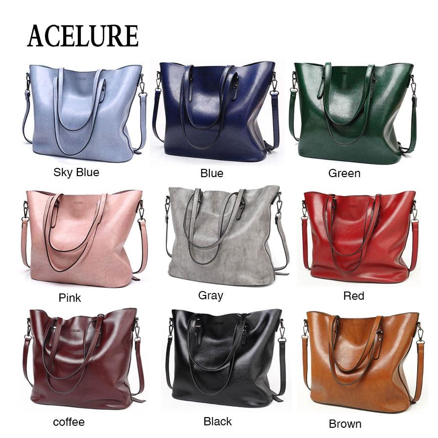 ACELURE Women Shoulder Bag Fashion Women Handbags Oil Wax Leather Large Capacity Tote Bag Casual Pu Leather women Messenger bag  4