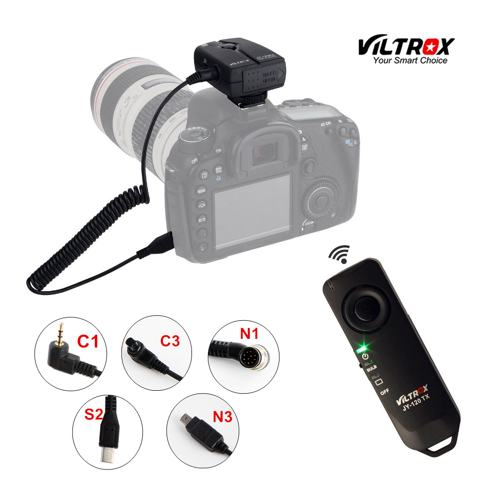 Viltrox JY-120 Camera Wireless Remote Shutter Release Control Cable for Canon 5D IV 7D Nikon D5300 Sony A9 A7 A6500 A6300 A7S cy rc 080 high quality remote switch shutter release cable for digital camera 2 5mm plug