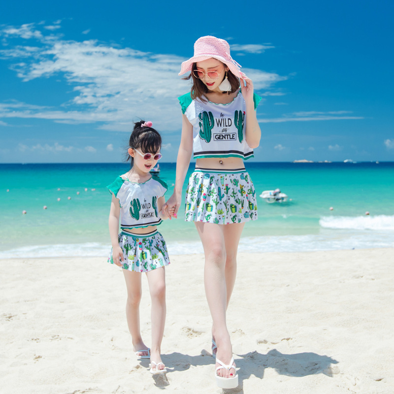 New Skirt Split Bikini Steel Support Angle Three piece Swimsuit Parent child Swimsuit Family Matching Clothes Matching Swimwear