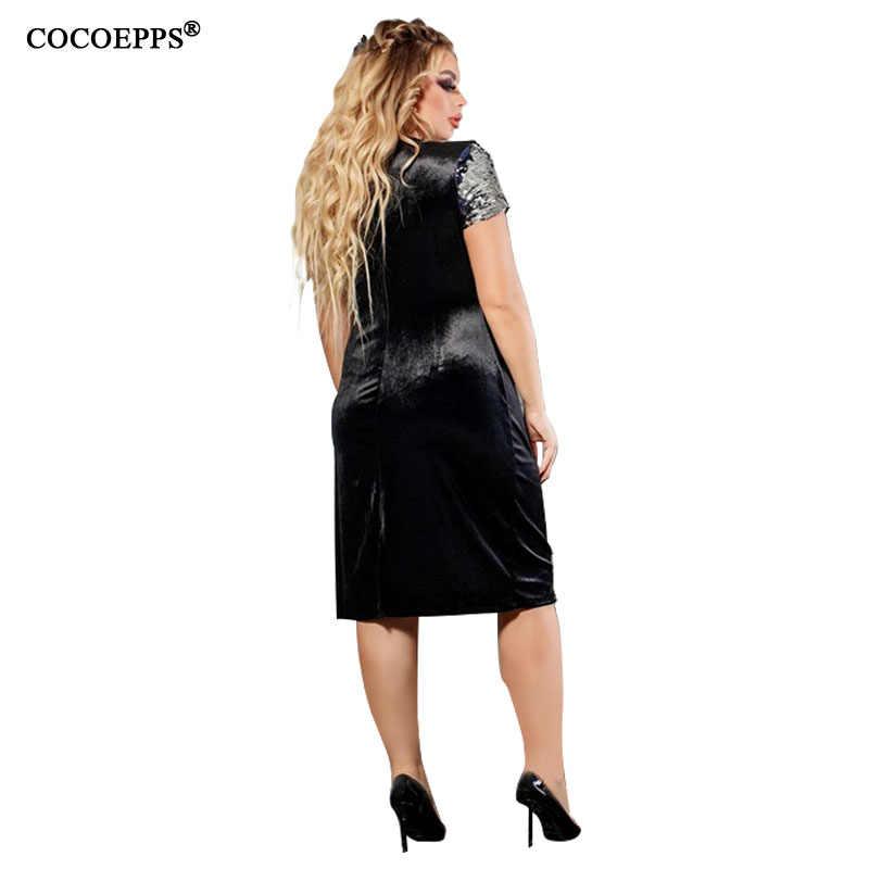 COCOEPPS 2019 размера плюс платье 6XL женское бархатное осеннее облегающее платье большого размера элегантное расшитое блестками большой размер женская одежда Vestidos