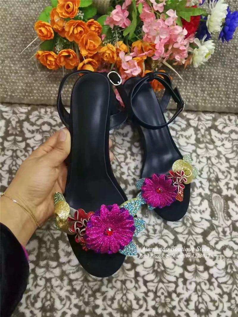 Ankle Slipper Spartiates Glitter Strap Carré Bout Femmes Talon Fleur Yfv6g7yb