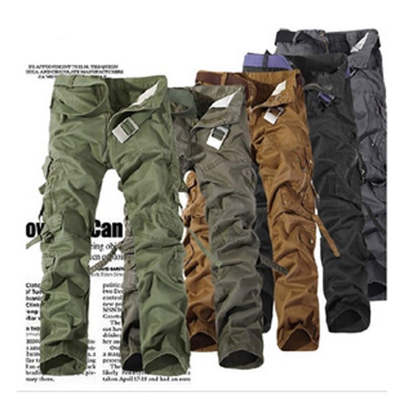 2016 nový muž značky Vojenské armády Camouflage Cargo kalhoty Plus velikost multi-kapsy kombinézy ležérní Camouflage venku kalhoty muži  t