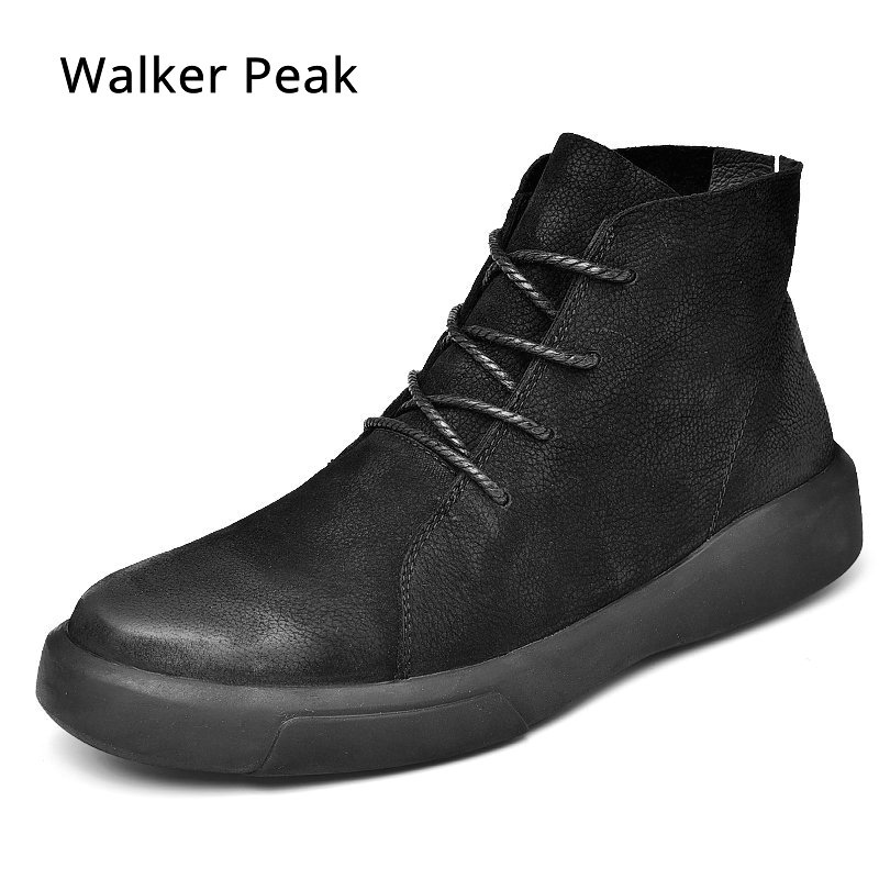 Men Boots Genuine Leather Ankle Boots Breathable Men Leather Boots High Top Shoes Outdoor Casual Men Winter Warm Shoes Walkerpea