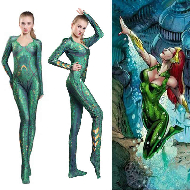 Hot Anime Filme Atlantis Aquaman Liga Da Justiça Mera Trajes Cosplay Mulheres Meninas Bodysuits Jumpsuits Spandex Zentai Ternos Partido
