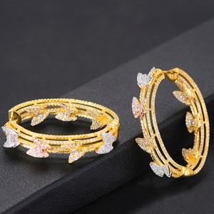 Image 5 - GODKI Luxury Butterfly Cubic Zircon Statement Big Hoop Earrings For Women Wedding DUBAI Bridal Round Circle Hoop Earrings 2019