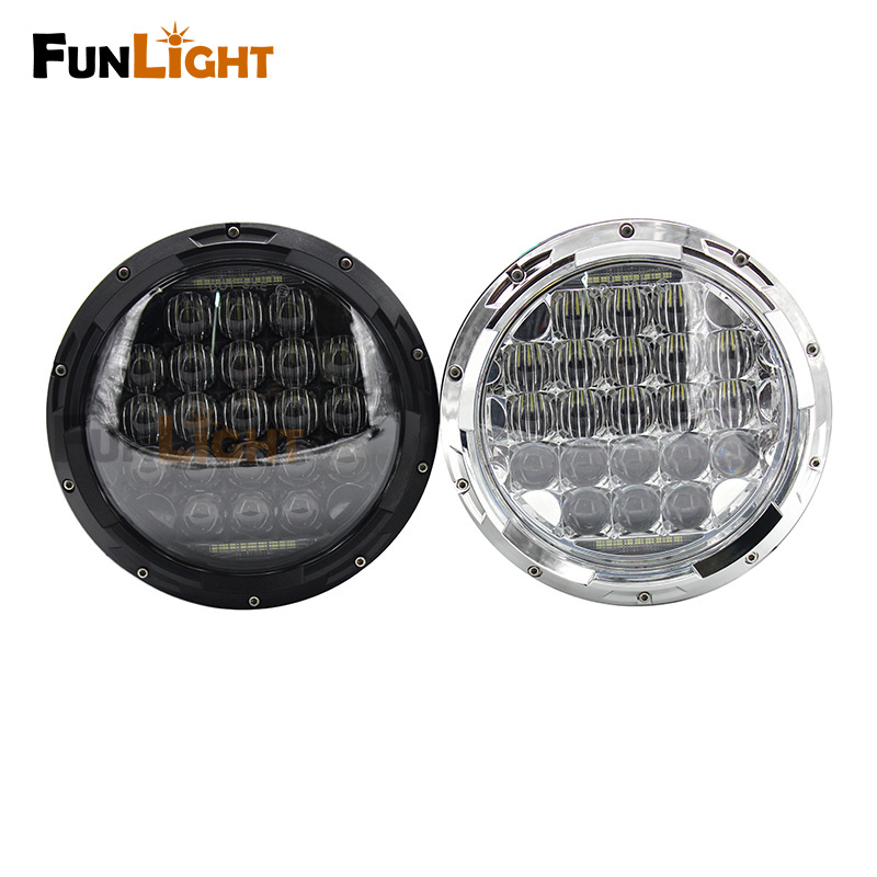 Free shipping New Black/Chrome 7 inch 5D LED Headlight Round H4 Headlamp with DRL For Jeep Wrangler 2007-2016 Hummer H1&H2 helo he866 gloss black wheel with chrome accents 20x8 5 6x135mm
